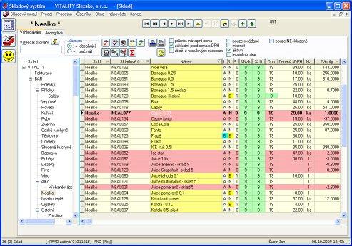 Manažerský modul restauračního systému AZsoft - Skladové hospodářství:l